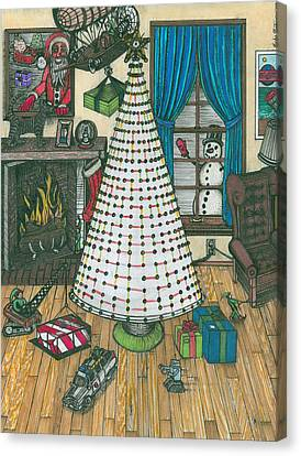 Christmas Card Drawing Canvas Print by Richie Montgomery