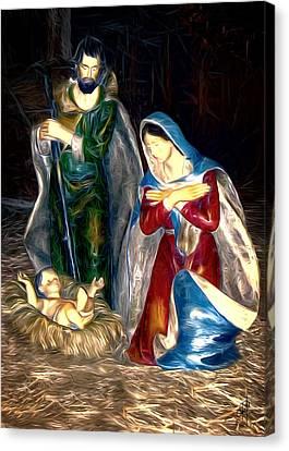 Christmas Card - Mary And Joseph Canvas Print by Pennie  McCracken