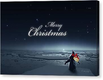 Christmas Card - Penguin Black Canvas Print by Cassiopeia Art