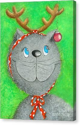 Christmas Cat Canvas Print by Sonja Mengkowski