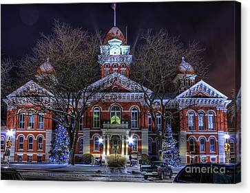 Christmas Courthouse Canvas Print by Scott Wood