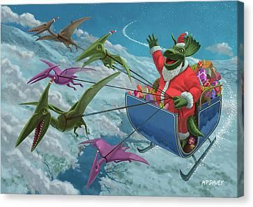 Christmas Dinosaur Santa Ride Canvas Print by Martin Davey