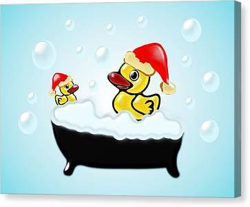 Cartoon Canvas Print featuring the digital art Christmas Ducks by Anastasiya Malakhova