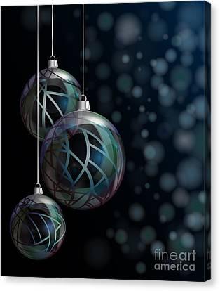 Christmas Elegant Glass Baubles Canvas Print by Jane Rix