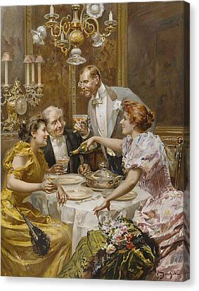 Christmas Eve Dinner In The Private Dining Room Of A Great Restaurant Canvas Print by Ludovico Marchetti