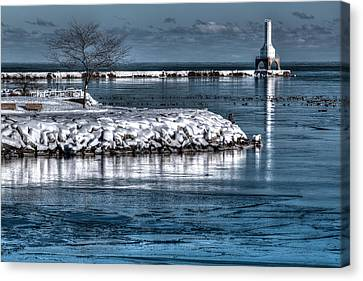 Christmas Eve Harbor Canvas Print by Jeffrey Ewig