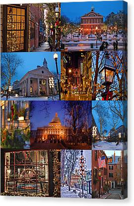 Christmas In Boston Canvas Print by Joann Vitali