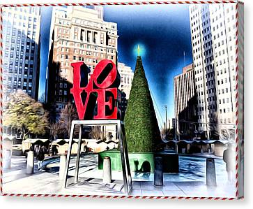 Christmas In Philadelphia Canvas Print by Bill Cannon