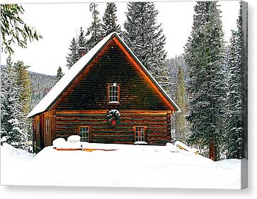 Christmas In The Rockies Canvas Print by Steven Reed