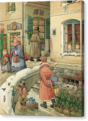 Christmas In The Town Canvas Print by Kestutis Kasparavicius