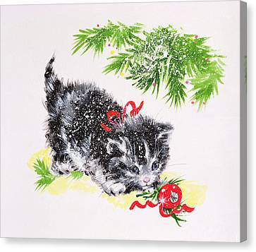 Christmas Kitten Canvas Print by Diane Matthes