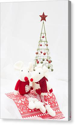 Christmas Mice Canvas Print by Anne Gilbert