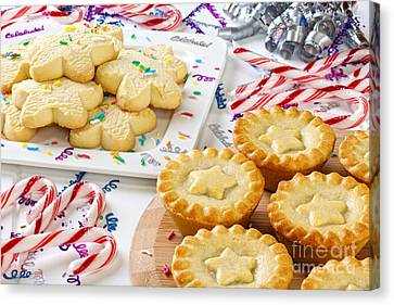 Christmas Mince Pies Cookies Candy Canes Canvas Print by Colin and Linda McKie