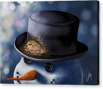 Christmas Nest Canvas Print by Veronica Minozzi