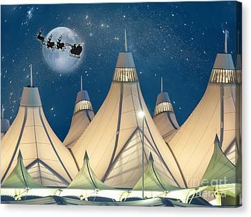 Christmas Night At Denver International Airport Canvas Print by Juli Scalzi