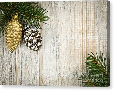Christmas Ornaments With Pine Branches Canvas Print by Elena Elisseeva