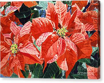 Christmas Poinsettia Magic Canvas Print by David Lloyd Glover