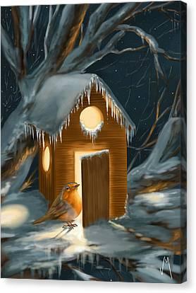 Christmas Robin Canvas Print by Veronica Minozzi