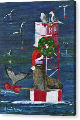 Christmas Seal And Friends Canvas Print by Jamie Frier