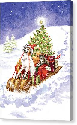 Christmas Sleigh Ride Dog And Cat Canvas Print by Caroline Stanko