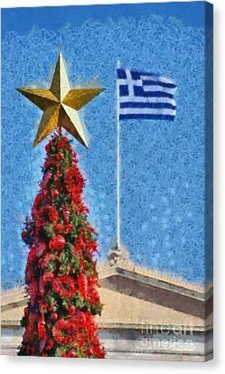 Christmas Tree And Greek Flag Canvas Print by George Atsametakis
