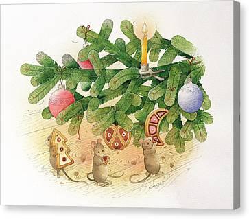 Christmas Tree And Mice Canvas Print by Kestutis Kasparavicius