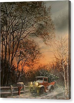 Christmas Tree Delivery Canvas Print by Tom Shropshire