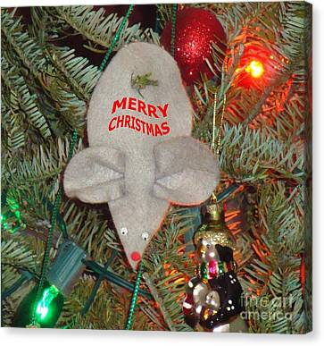 Christmas Tree Mouse Canvas Print by Joseph Baril