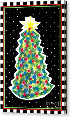Christmas Tree Polkadots Canvas Print by Genevieve Esson