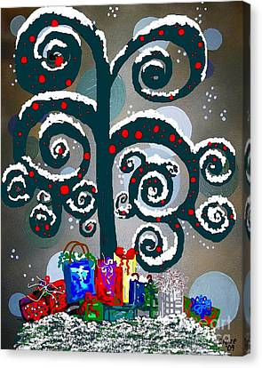 Christmas Tree Swirls And Curls Canvas Print by Eloise Schneider