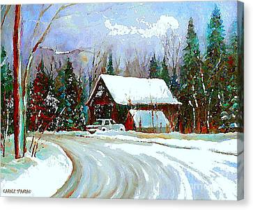Christmas Trees Cozy Country Cabin Painting Winter Scene Quebec Painting Canadian Art Cspandau Canvas Print by Carole Spandau