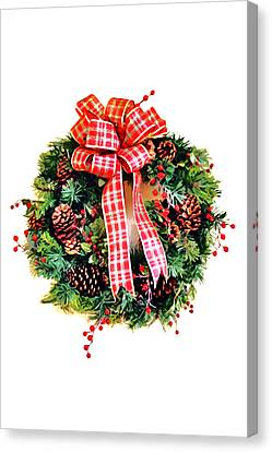 Christmas Wreath Canvas Print by Art Block Collections