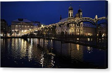 Christmastime In Lucerne Canvas Print by Liz Naepflin