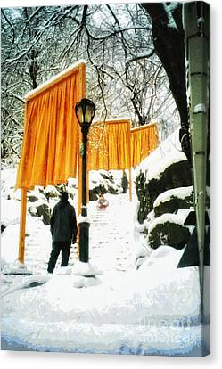 Christo - The Gates - Project For Central Park In Snow Canvas Print by Nishanth Gopinathan