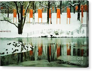 Christo - The Gates - Project For Central Park Reflection In Wat Canvas Print by Nishanth Gopinathan