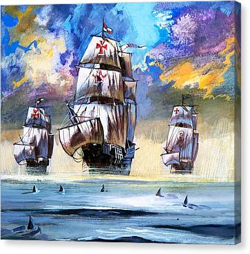 Christopher Columbus's Fleet  Canvas Print by English School