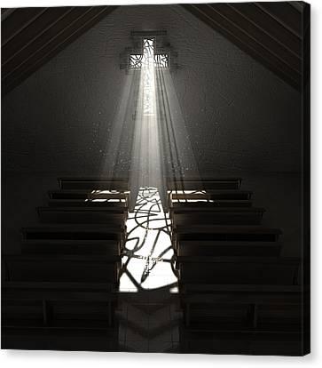 Christ's Light In The Dark Canvas Print by Allan Swart