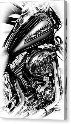 Chromed Harley Monochrome Canvas Print by Tim Gainey