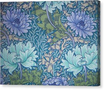 Chrysanthemums In Blue Canvas Print by William Morris