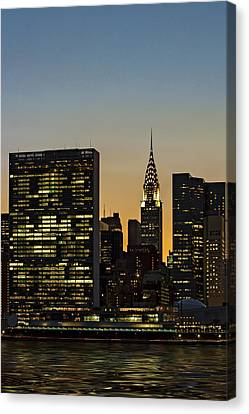 Chrysler And Un Buildings Sunset Canvas Print by Susan Candelario
