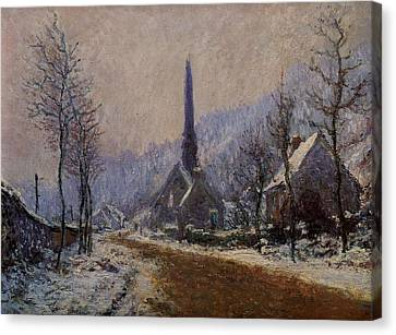 Church At Jeufosse Snowy Weather 1893 Restored Canvas Print by Claude Monet - L Brown