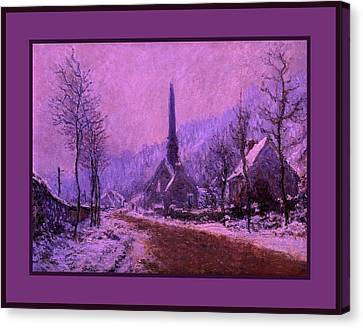 Church At Jeufosse Snowy Weather Enhanced Triple Border Canvas Print by Claude Monet - L Brown