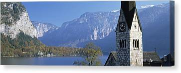 Church At The Lakeside, Hallstatt Canvas Print by Panoramic Images