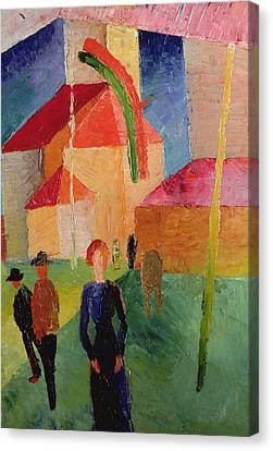 Church Decorated With Flags Canvas Print by August Macke