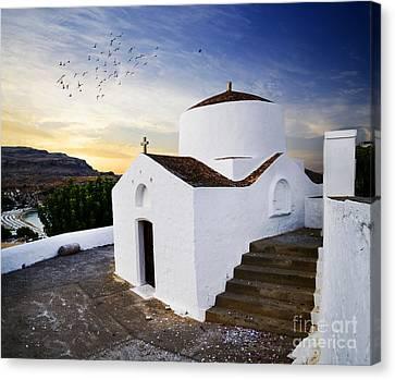 Church In Lindos Rhodes Canvas Print by Jelena Jovanovic