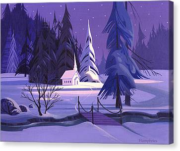 Church In Snow Canvas Print by Michael Humphries