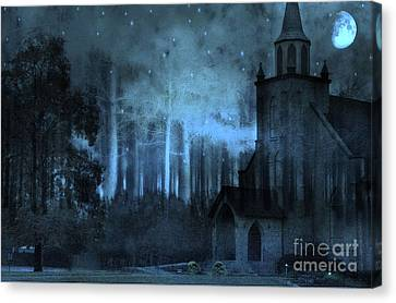 Church In Woods Starry Full Moon Night Canvas Print by Kathy Fornal
