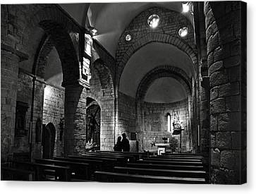 Church Of The Assumption Of Mary In Bossos - Bw Canvas Print by RicardMN Photography