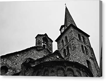 Church Of The Assumption Of Mary In Bossost - Abse And Tower Bw Canvas Print by RicardMN Photography
