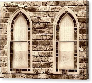 Church Windows Sepia 1 Canvas Print by Cheryl Young